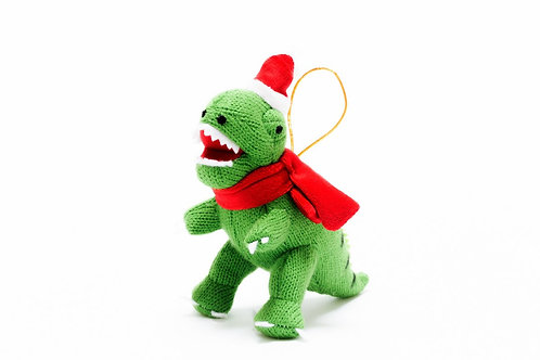 T Rex - Knitted Christmas Decoration - Pebble Toys