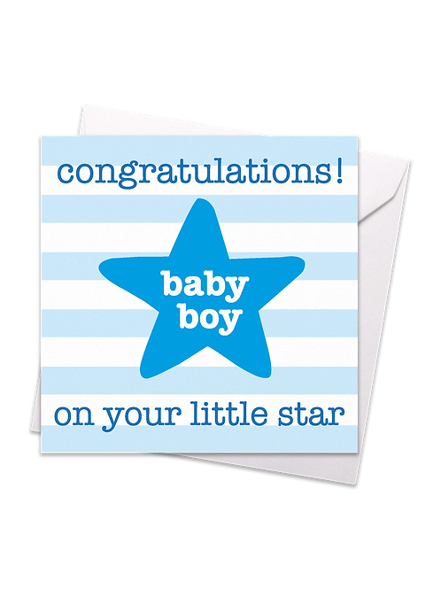 Star Baby Boy Card - Toby Tiger