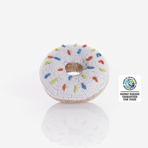 Donut - Crochet Cotton Baby Rattle - Pebble Toys