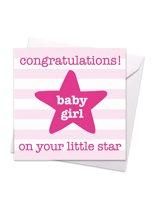 Star Baby Girl Card - Toby Tiger