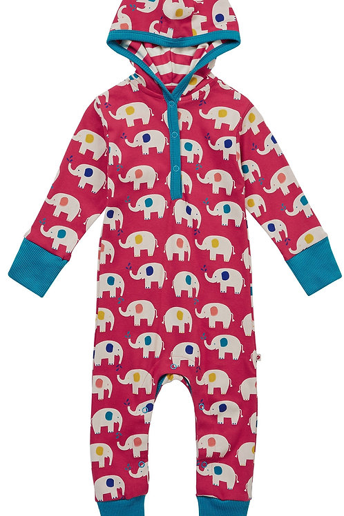 Hooded Playsuit - ELEPHANT - Piccalilly