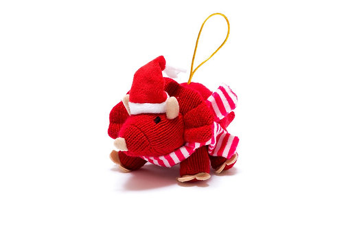 Triceratops - Knitted Christmas Decoration - Pebble Toys