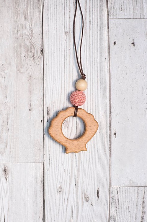 Wooden Shell Pendant - Coral