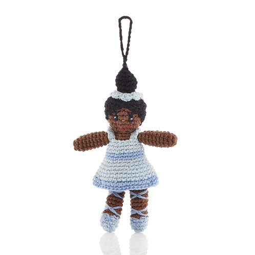 Ballerina (blue) - Knitted Christmas Decoration - Pebble Toys