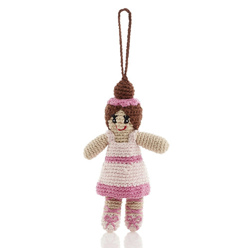 Ballerina (pink) - Knitted Christmas Decoration - Pebble Toys