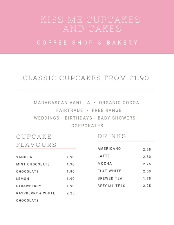 Kiss Me Cupcakes - Coffee Shop Menu
