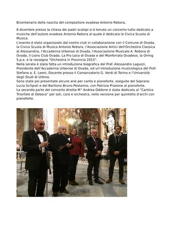 Concerto 200 anni nascita Antonio Rebora – Chiesa Padri Scolopi – Ovada