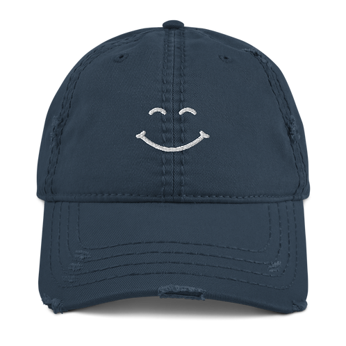 embroidered happy distressed dad hat
