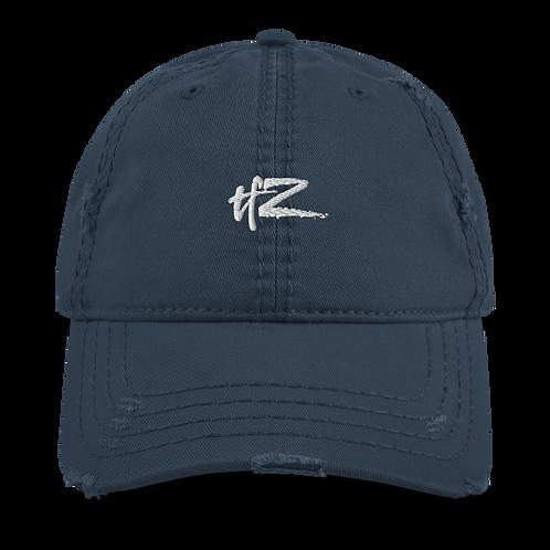 """Embroidered Cretonne """"temporaryforeverZ"""" Logo Distressed Dad Hat"""