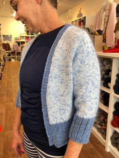 Pop Crop Cardi by Ambah O'Brien knit in Krea Deluxe Organic Cotton with ITO Sensai (a silk, mohair blend) with Artyarns Silk Day Dream and Beaded Silk for the rib