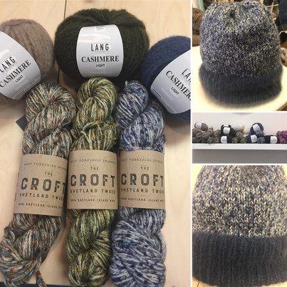 A simple knit hat in Lang Cashmere Light and Shetland Tweed from The Croft