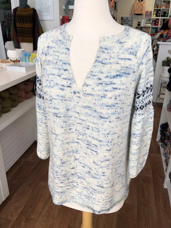 The Nell sweater dazzles in speckled Kokon fingering weight yarn