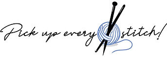 Pick Up Every Stitch's Yarn Store logo, a yarn ball with knitting needles