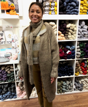 Andy cardigan / coat, designed by Junko Okamoto, knit in Anny Blatt Nunki and ITO Sensai silk mohair