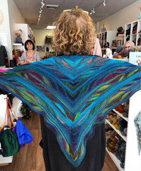 Butterfly / Papillion Shawl by Marin Melchior knit in Uneek Fingering and Periwinkle Sheep's Sport Wolle
