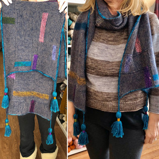 Scarf knit in Scraps held together with Shibui Mohair