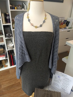 Gorgeous dress knit in cashmere, worn with Reagan knit in a baby yak and silk blend yarn