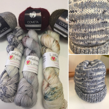 A striped knit hat in cometa and Littlebean Loves Sparkle Sock