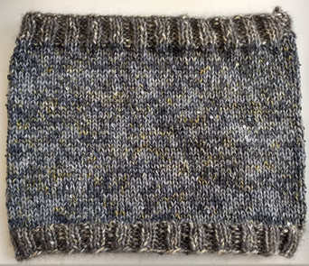 Stunning Cowl Knitted in Artyarns Sequins and Beads with a Stash Yarn Edge