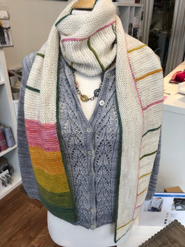 Splendid lace pattern Meseta Cardigan worn with knit Charnley Scarf