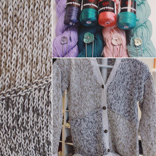 A knit cardigan made in Anny Blatt Victoria and Berroco Modern Cotton