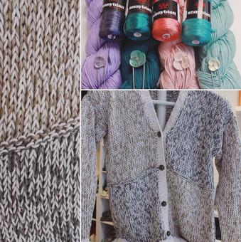 A knit cardigan made in Anny Blatt Victoria and Berroco Modern Cotton