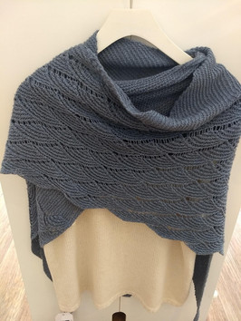 Marly top knit in a luscious alpaca and cotton blend, worn with knitted Rheinlust shawl in a baby yak and silk blend