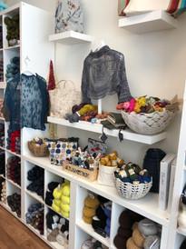 Yarn project bags, Artyarns lace shrug, Risoni yarn display, Kokon mini skein display, Risoni shrug in silk yarn