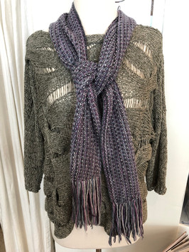 Exquisite Forest Weave knit in two tone linen yarn, worn with the knitted Fringed Violet Scarf