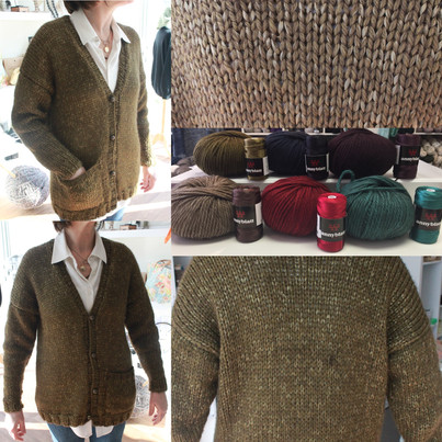 A knit cardigan made in Anny Blatt Nunki and Victoria