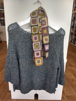 Beautiful top knit in two tone linen yarn, worn with the 21 Square Crochet Scarf from Karen's class