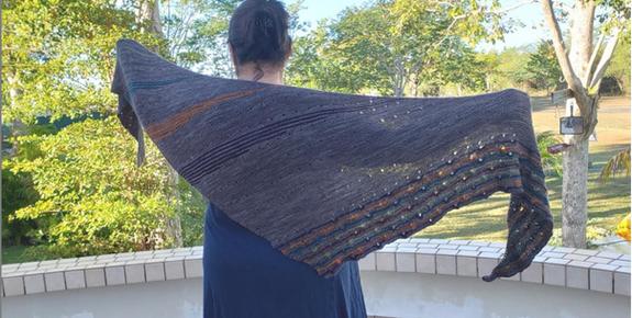 Beautiful Solaris Shawl Knitted in Periwinkle Sheep's Delirium and Artyarns Merino Cloud