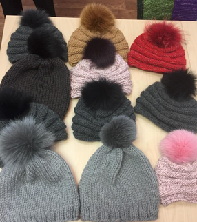 Gorgeous Hats in Clinton Hill Cashmere with Silk Dream and/or Beaded Silk from Artyarns with Fox Fur Pompoms