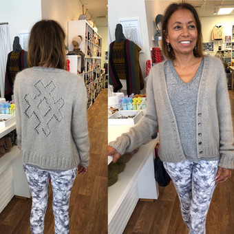 Criss Cross Cardigan by Isabell Kramer in Erika Knight's Stupid Linen held with Lang's Mohair Luxe