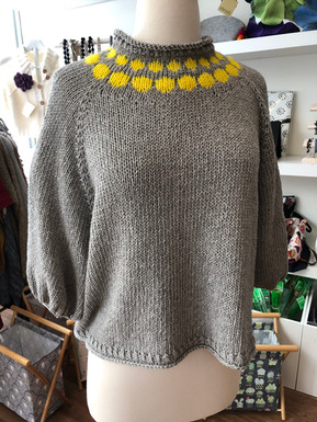 Cherry Sweater Knit in Illimani Sabri II (Baby Alpaca, Cotton Blend) and 7th Floor Yarn Merino DK Mini Skeins