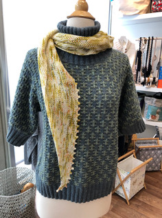 Delightfully colorful District top worn with lightweight Hitchhiker shawl