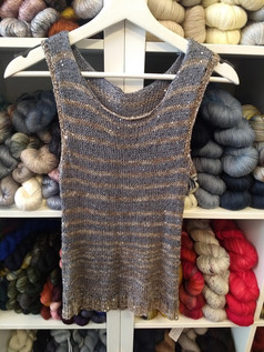 Magnificent striped tank top in Artyarns Beaded Silk and Sequins yarn