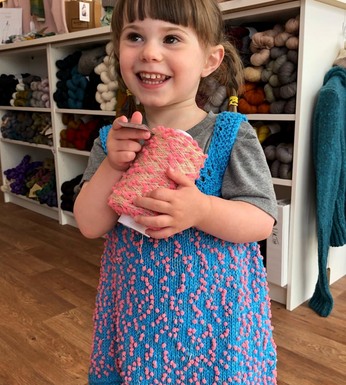 Child's Dress Knit in Modern Cotton help together with Mondo Fil Pompom