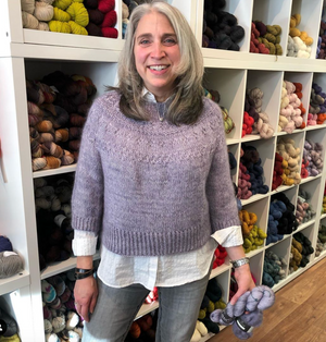 Ranunculus, designed by Midori Hirose, knit in MadelineTosh Tosh Merino Light and Isager mohair