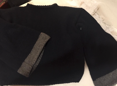 Belle Sleeve Knitted Pullover in Clinton Hill Cashmere in Navy with a Charcoal Trim with Anny Blatt's Tressor