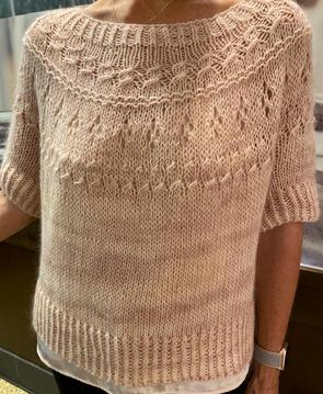 Ranunculus, designed by Midori Hirose, knit in Manos Del Uruguay Fino and ITO Sensai silk mohair