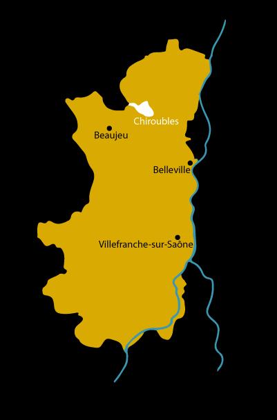 Carte le cru Chiroubles dans le Beaujolais