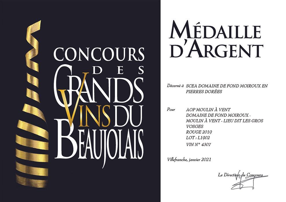 diplôme Moulin à Vent concours des grands vins du beaujolais