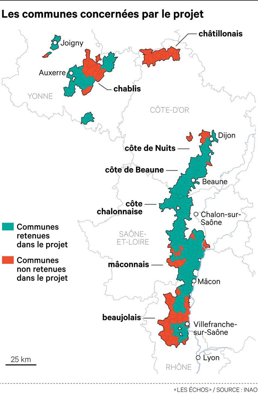 carte de projet de l'aire d'appellation Bourgogne par l'INAO