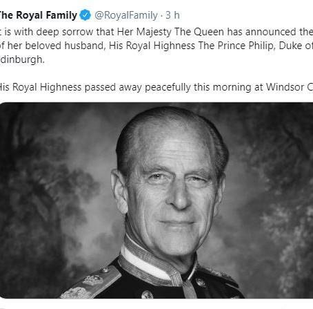 Morre aos 99 anos o Príncipe Philip