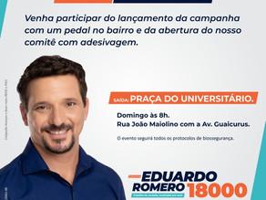 Em novo formato: Eduardo Romero opta por comitê em casa e faz pedal domingo no bairro Universitário