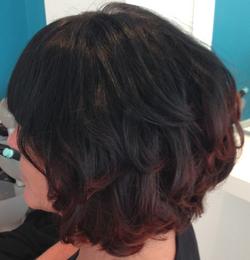 Dip Dyed Curly Bob