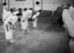 Photo of a karate class beginning