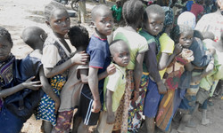 Children lined up for health care