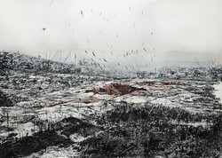 SCAR FIELD 2017 (in progress)- etching, charcoal and pastell on paper 145x200 cm
